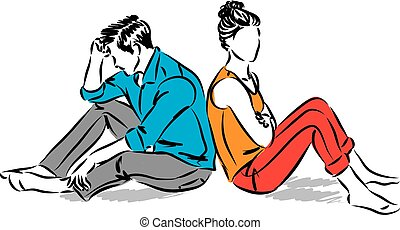 COUPLE IN PROBLEMS VECTOR ILLUSTRATION.