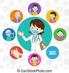 covid-19., medizin, schützend, doktor, familie, tragen, virus, maske