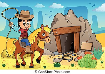 Cowboy auf Pferd Thema Bild 3.