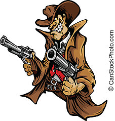 Cowboy-Cartoon-Maskottchen mit Waffen.