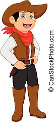cowboy, junge, tragen, kostüm, karikatur