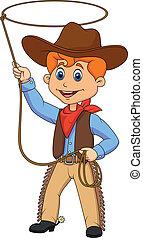 Cowboy-Kind-Zeichentrickfilm mit einem Lasso