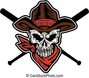 Cowboy-Schädel-Baseball-Maskottchen.