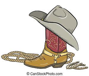 Cowboy-Stiefel mit westlichem Hut auf weißem