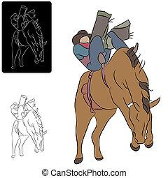 Cowboy und Pferd.