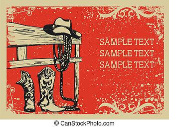 Cowboys Elemente für das Leben.Vector Grafikbild mit grauem Hintergrund für den Text