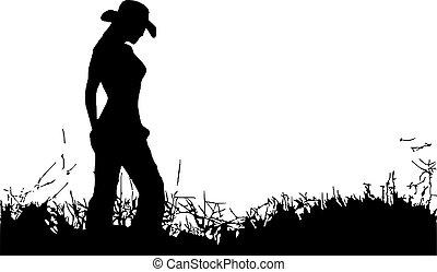 Cowgirl, allein.