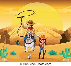 cowgirl, wüste, cowboy