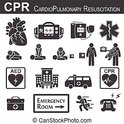 CPR ( Cardiopulmonary resuscitation ) icon ( black & white , flat design ) , Basic life support ( BLS ) and Advanced Cardiac life support ( ACLS )( mouth to mouth , Chester compression , defibrillation ).