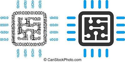 CPU Schaltung Mosaik der binären Ziffern