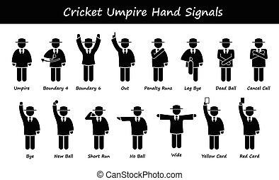 Cricket Schiedsrichtersignale.