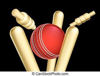 Cricketball bricht Wicket-Stümpfe.