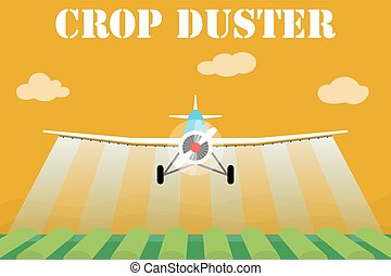 Crop Duster Flugzeug sprüht ein Feld
