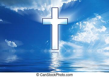 Cross hängt im Himmel über Wasser
