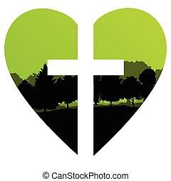 Cross Heart Tree Landschaft Hintergrund vektor abstraktes Christentum.