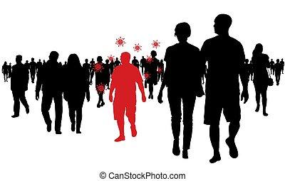 crowd, illustration., vektor, leute., covid-19, mann, infected, gehen