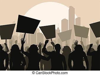 crowd, vektor, protesters, hintergrund
