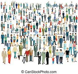 crowd, verschieden, people.eps, groß