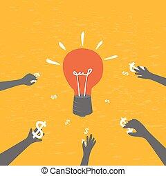 crowdfunding, investieren, begriff, ideas.