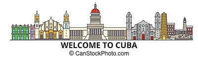 Cuba skiline skyline, cuban flat dünne Linie Icons, Wahrzeichen, Illustrationen. Kuba Cityscape, kubanische Reisestadt-Vektorbanner. Urban Silhouette