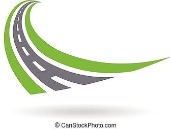 Curved paved road logo . Grafikdesign