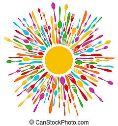 Cutlery Restaurant Hintergrund in vibrierenden Farben