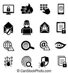 Cyber-Sicherheit, Viren und Computer-Sicherheits-Icons.