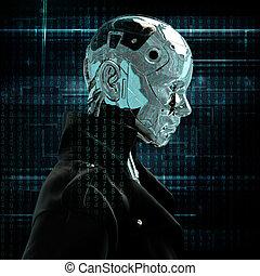 cyborg, m�dchen, regenmantel