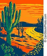 dämmerung, park, kaktus, national, saguaro, arizona, wpa, kunst, tucson, plakat, kalifornien