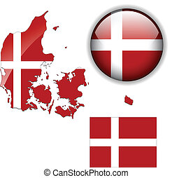 Dänemark Flagge, Karte und Hochglanzknopf.