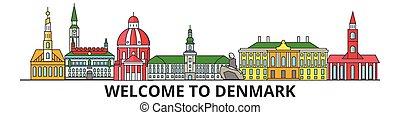 Dänemark skizziert Skyline, Danish flache dünne Linien Icons, Wahrzeichen, Illustrationen. Dänemark Cityscape, dänische Reisestadt-Vektorbanner. Urban Silhouette