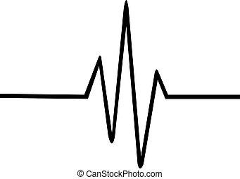 Dünne Herzschlaglinie.