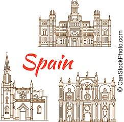 Dünne Linien Ikonen von spanischen Wahrzeichen