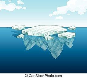 Dünnes Eisberg auf Wasser.