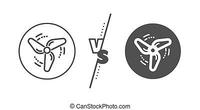 düse, energie, linie, vektor, fächer, icon., motor, turbine, zeichen., wind