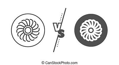 düse, turbine, fächer, vektor, icon., zeichen., linie, motor