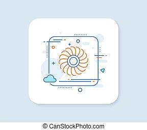 düse, zeichen., linie, fächer, motor, vektor, icon., turbine