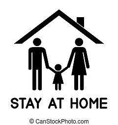 dach, ihr, unter, familie, glücklich, house.