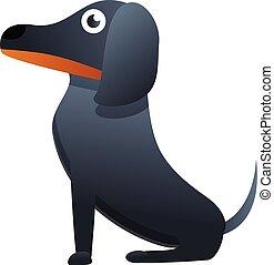 dachshund, ikone, schwarz, stil, karikatur