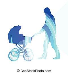 Dad mit Baby-Breakern, Kutschen-Laufmann Silhouette Illustration Hintergrund buntes Konzept.