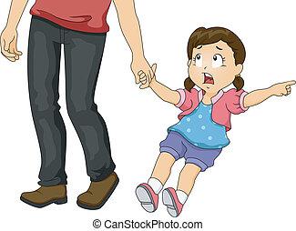 Dad zieht Mädchen.