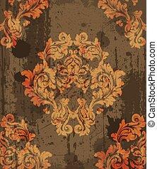 Damask Muster Dekoration Vektor. Barocke grunge Gewebe Textur Illustrationen
