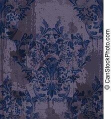 Damask Muster Dekoration Vektor. Barocke Textur-Designs
