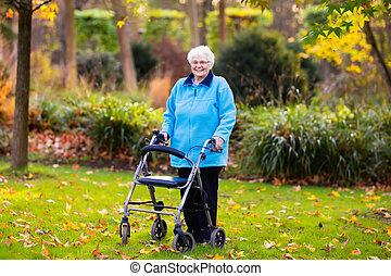 dame, älter, herbst, park, gehhilfe