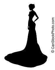 dame, adlig, silhouette