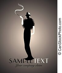 dame, guten, kunst, logo., elegant, deco, silhouette, smoking., style.