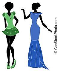 Damen in kurzen und langen Kleidern.