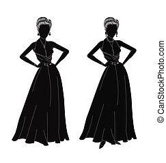 Damen in Silhouette