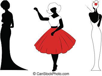 Damen in verschiedenen Kleidern