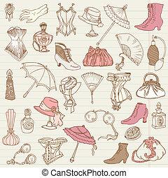 Damen-Moden- und Accessoires-Doodle-Sammlung - Hand in Vektor